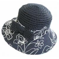Buy cheap Ladies Straw Hats, with Fashion Print Pattern from wholesalers