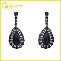 China wholesale best quality women jewelry teardrop shaped dangle earring black diamond earrings on sale