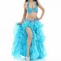 China Hot Sale Turquoise Performance Belly Dance Bra+Belt Costume,Belly Dance Costume on sale