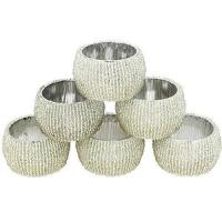 China Accessories Handmade Indian Silver Beaded Napkin Rings - Set of 6 Rings on sale