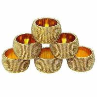 China Accessories Handmade Indian Gold Beaded Napkin Rings - Set of 6 Rings on sale