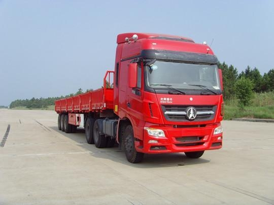China Product Title: Beiben V3 6x4 Tractor Head with 3 axle cargo trailer