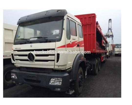 China Product Title: Beiben NG80 6x4 tractor head with CIMC 3axle container trailer