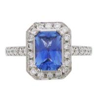 China 0.94CT RADIANT BLUE SAPPHIRE CARLTON ENGAGEMENT RING on sale