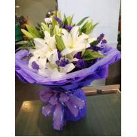 Best Birthday 6 stem lilies with statice delivery NO.1 birthday gift to austr wholesale
