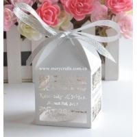Buy cheap Best selling customized favor boxes laser cut white pearl wedding favor box with free ribbon from wholesalers