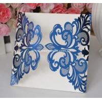 Buy cheap Laser cut wedding invitations philippines royal blue wedding invitation card from wholesalers