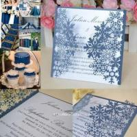 Buy cheap Snowflake invitations laser cut navy blue greeting card wedding card for mariage invitations from wholesalers