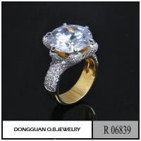 Best Rings R6839 Two Color Plated 24K Saudi Gold Big Diamond Jewelry Ring wholesale