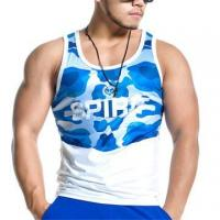 Best 95% cotton 5% spandex mens gym tank top singlet wholesale