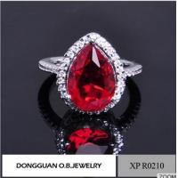 Best Ruby Red Heart Shaped Zircon Women Wedding Engagement Jewelry Rings In Copper Wholesale wholesale