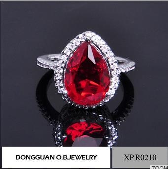 China Ruby Red Heart Shaped Zircon Women Wedding Engagement Jewelry Rings In Copper Wholesale