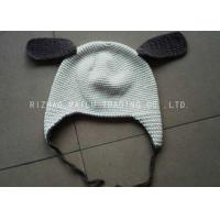Best White Crochet Winter Hat With Brown Earflap And Ribbon / Crochet Beanie Hats wholesale