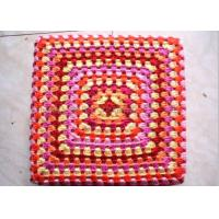 Best Customized Color Crochet Stool Cover / Acrylic Square Crochet Pouf Cover wholesale
