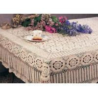 Best Creme Cotton Rectangular Crochet Table Cover Washable Hand Crocheted Table Cloth wholesale