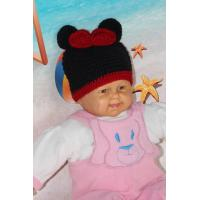Best Mickey Mouse Head Shape Black Knitted Girls Crochet Hats 100% Acrylic Material wholesale