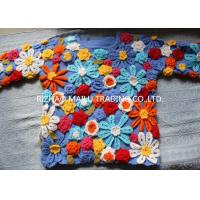 China Daisy Twill Cable Knit Sweater Wool Handmade Crochet Sweaters For Women on sale