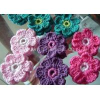 Buy cheap Colorful Crochet Accessories , 6 Petals Knitted Crochet Flower Appliques from wholesalers