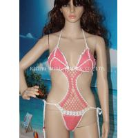 Best One Piece High Cut Sexy Hollow Out Girls Bikini Swimming Wear , Pink With White Edge wholesale