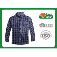 China Long Sleeve Moisture Wicking Shirts Blue Plaid 100% Polyester Material on sale
