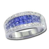 China Rings 14K White Gold Blue Sapphire and Diamond Ring on sale