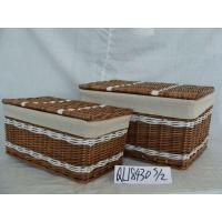 China Big Size Wicker Laundry Basket with Handles and Lid on sale