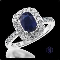 China 2.38ct Sapphire & Diamond Cluster Ring on sale