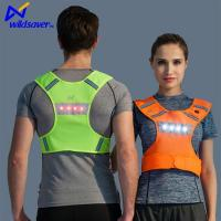 Best LED Flashing Reflective Dual Warning Safety Breathable Mesh Sports Gilet Running Vest wholesale