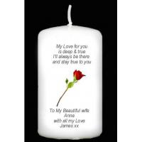 Buy cheap page Red Rose Personalised Candle from wholesalers
