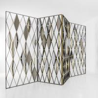Best Screen Panels with Sructure in Matte Black Painted Metal and Natural Brass,divider Screen wholesale