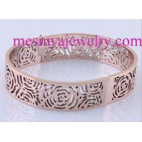 China 316L stainless steel wire EDM rose flower PVD rose gold plated bangle on sale