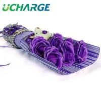 China Ucharge 6pcs Rose Flower Soap Gift Set with a Bear Holiday Gift Rose Shape Flower Soap - Purple on sale