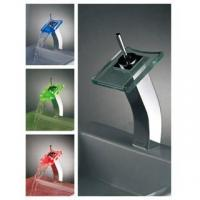 Best Square Tall Glass LED Basin Faucet wholesale