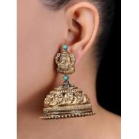 Classic Gold Tone Silver Jhumkis with Lord Ganesha MotifEarrings