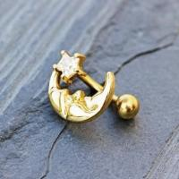 Best Gold Plated Man in The Moon Top Down Navel Ring wholesale