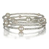 China Fresh Water Pearl Coil Bracelet and Anklet in Sterling Silver - Fits All Sizes on sale
