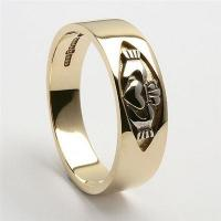 Best 10k Yellow Gold Ladies Claddagh Wedding Ring 7mm wholesale