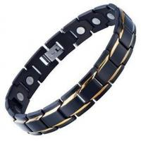 Best Stainless Steel Mens Gold Black Power Energy Bracelet with Magnets wholesale