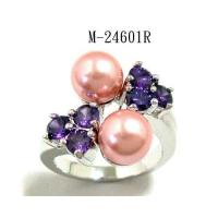 Best Hematite Plating Rings Amethyst CZ and Faux Pearl Ring M-24601R wholesale