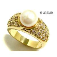 Best Hematite Plating Rings Fresh water pearl and clear CZ ring M-30531R wholesale