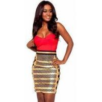Anti - Wrinkle Gold Foil Bandage Dress Sleeveless Rayon Nylon Spandex Material