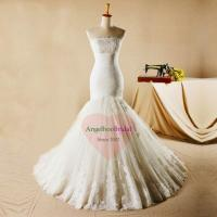 Cheap Strapless Vintage Inspired Lace Fishtail Wedding Dresses WD1532 for sale