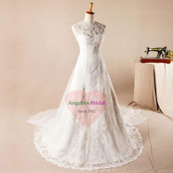 China Plus Size Vintage Lace Wedding Dresses with Long Sleeves WD1562
