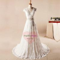 Buy cheap Casual Vintage Lace Wedding Dresses with Short Sleeves WD1560 from wholesalers