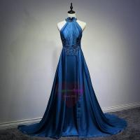 Cheap Sexy Royal Blue Halter Neck Long Evening Dresses ED1504 for sale