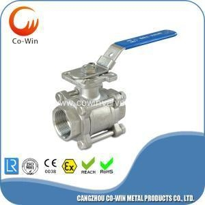 China 1000WOG 3PC Ball Valve With Mounting Pad