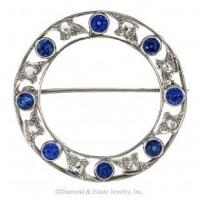 China Marcus & Co. Edwardian Blue Sapphire and Rose-Cut Diamond Circle Brooch. on sale
