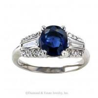 China Mid-Century Blue Sapphire and Diamond Solitaire Ring on sale