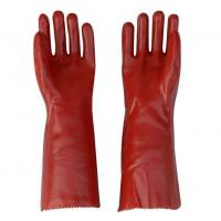 Buy cheap Red PVC Smooth Coated Gloves with Cotton Liner from wholesalers