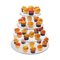 Best 8 Inch Tier Clear Acrylic Scalloped Edge Cake Display Cupcake Centerpiece Stand Riser wholesale